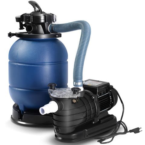 Costway New Pro 2450GPH 13'' Sand Filter Above Ground 10000GAL Swimming Pool Pump