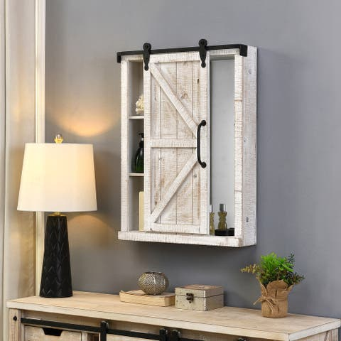 FirsTime & Co.® Winona Farmhouse Barn Door Cabinet Mirror, Mirror, 21 x 5.5 x 28 in, American Designed - 21 x 5.5 x 28 in