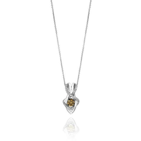 Encore by Le Vian Chocolate & White Diamond Pendant 14K White Gold 18""