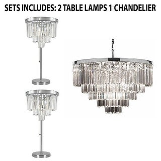 Set of 3 Odeon Crystal Glass Fringe Chandelier and Table Lamps - Chrome
