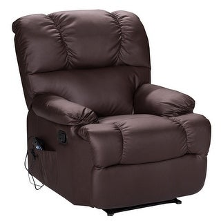 Costway Recliner Massage Sofa Chair Deluxe Ergonomic Lounge Couch Heated W/Control Brown