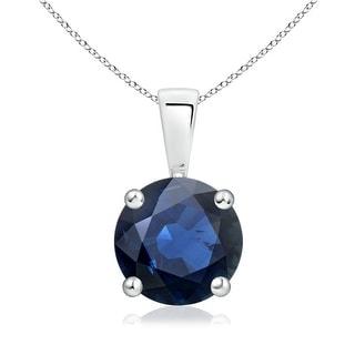 Angara Prong Set Round Blue Sapphire Solitaire Pendant