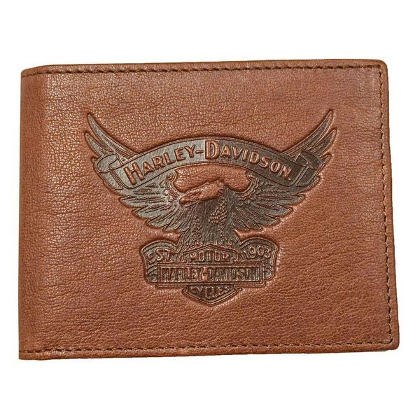 "Harley-Davidson Men's Eagle Emboss Billfold w/Removable ID Wallet EE9041L-SCOTCH - 4.25"" x 3.5"""