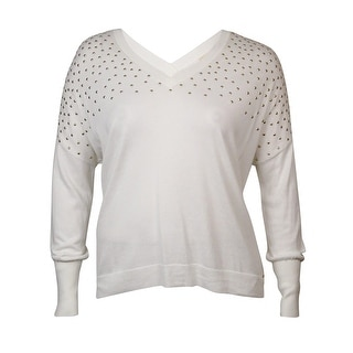 Michael Kors Women's Studded V-Neck Dolman Knit Top - White