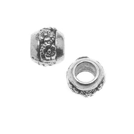 Lead-Free Pewter Silver European Style Large Hole Beads, Flower Design 8x9mm, 2 Pieces, Antiqued Silver