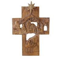 "9.75"" Religious Nativity Wall Cross with Holy Family Christmas Decoration - Gold"