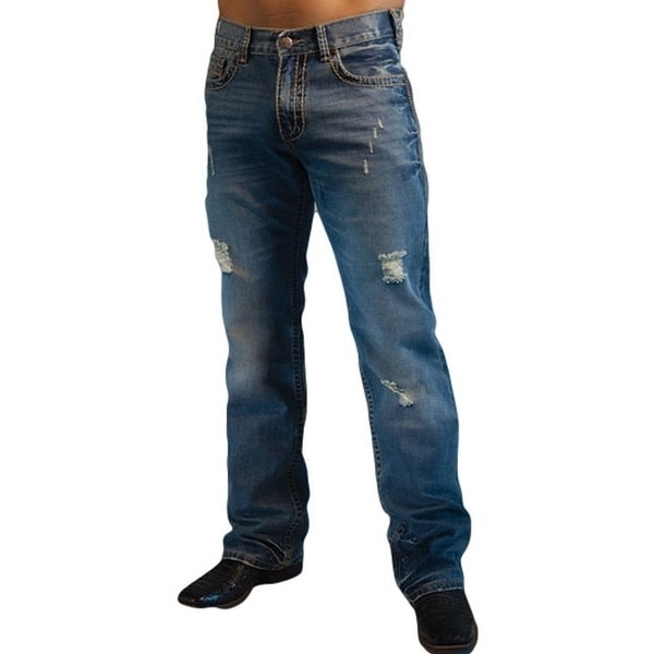 B. Tuff Western Denim Jeans Mens Camo Rips Medium Wash