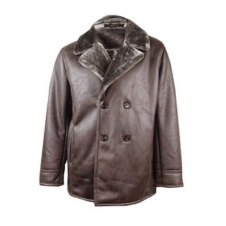Tasso Elba NEW Brown Mens Large L Faux Leather Double Breasted Coat