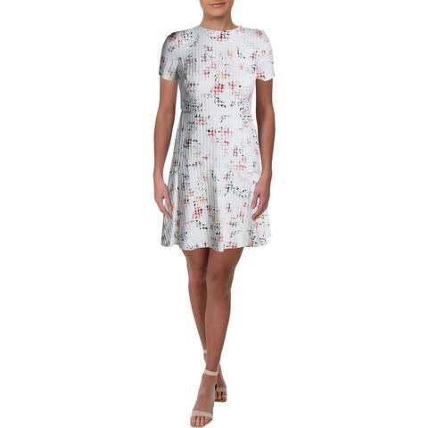 Lauren Ralph Lauren Womens Petites Baba Janesville Casual Dress Floral - Cashew/Pink