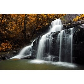 "Natures Woods Autumn Waterfall Scene Canvas Wall Art 15.75"" x 23.5"""