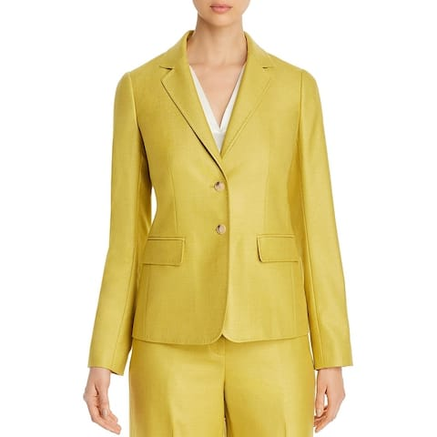 Lafayette 148 New York Womens Two-Button Blazer Silk Blend Business - Quince