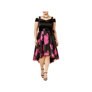 SLNY Womens Plus Cocktail Dress Off-The-Shoulder Floral Print Black 22W
