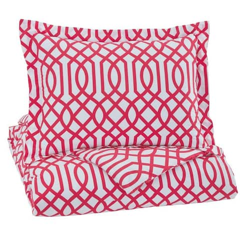 Fabric Twin Size Quilt Set with Trellis Design and 1 Sham, Red