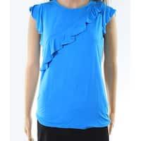 Context Women's Large Asymmetrical-Ruffle Knit Top