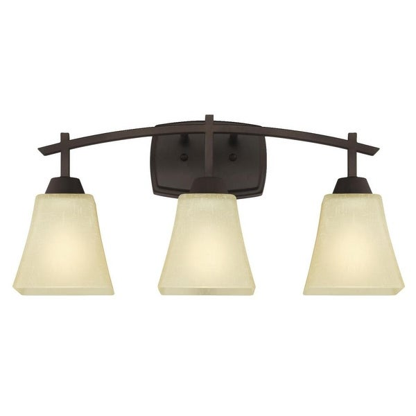 """Westinghouse 6307500 Midori 21"""" Wide 3-Light Bathroom Vanity Light with Glass Shades - Oil Rubbed bronze"""