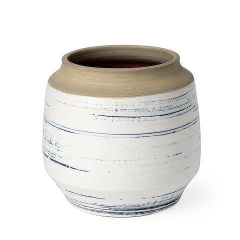 Sonnett Short White/Blue Ceramic Vase