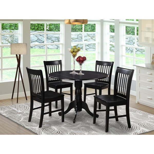 Black Round Kitchen Table And 4 Dinette Chairs 5 Piece Dining Set Overstock 10201085