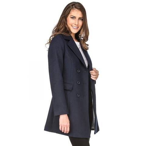 Haute Edition Double Breasted Wool Blend Peacoat Winter Jacket Coat