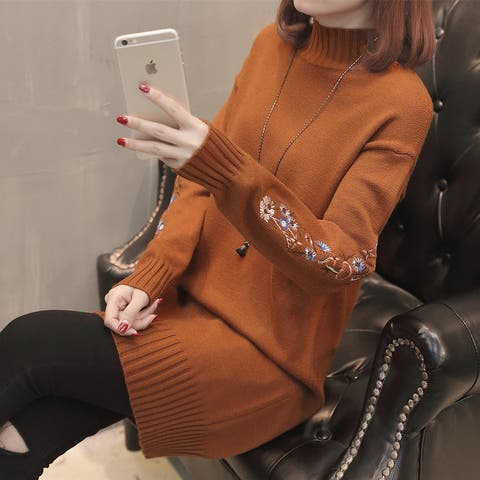 2019 Large Size Women's Long Sweater Knitted Embroidery Bottoming Shirt
