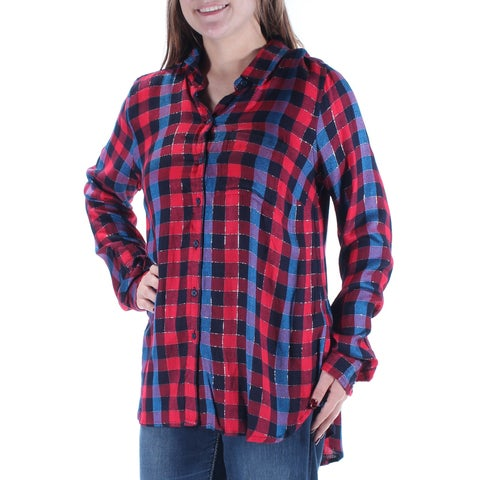 LUCKY BRAND Womens Red Glitter Printed Long Sleeve Collared Button Up Top Size: M