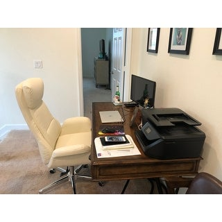 """Glitzhome 48""""H Mid-Century Modern Breathable Leatherette Adjustable Office Chair"""