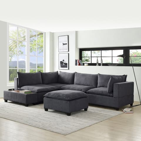 Madison Down Feather Modular Sectional Sofa with USB Storage Console