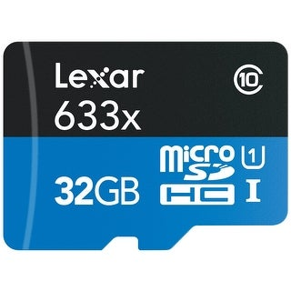 Lexar High-Performance microSDHC 633x 32GB UHS-I Card w/SD Adapter - LSDMI32GBBNL633A - Black