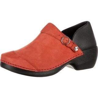 4EurSole Work Shoes Womens Nubuck Leather Clog Burgundy RKYH042