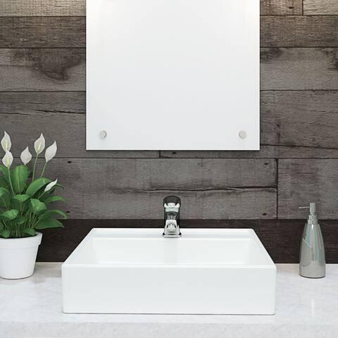 "DecoLav 1464 Aurelia 17-1/2"" Square Vitreous China Vessel Lavatory Sink with Single Faucet Hole - Ceramic White"