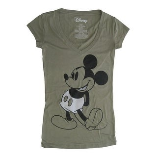 Disney Womens Green Disney Mickey Mouse Short Sleeve Shirt