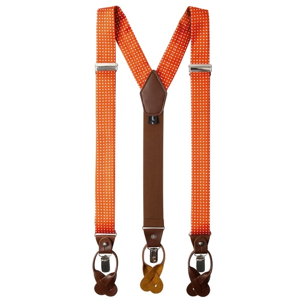 Many Colors Mens Premium Y-Back Button and Clip Convertible Suspenders