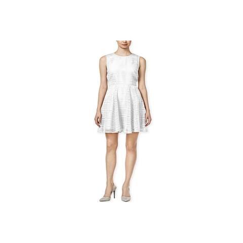 maison Jules Womens Lace Fit & Flare Tank Dress, Off-white, Large