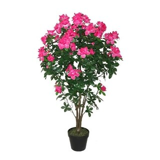 """43.25"""" Potted Green and Pink Azalea Flower Tree"""