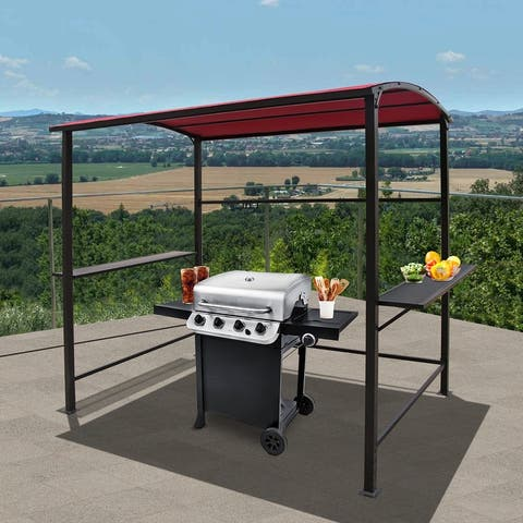 Outdoor Steel Frame Gazebo Canopy Barbecue Shelter