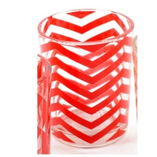 Basic Luxury Strawberry Margarita Red Chevrons Glass Tea Light Candle Holder