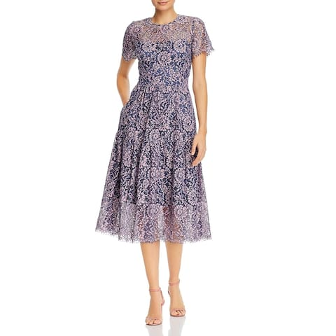 Eliza J Womens Fit & Flare Dress Lace Overlay Short Sleeve - Pink