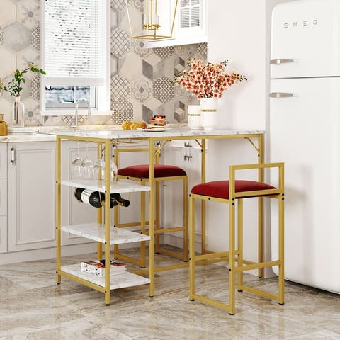 [Pre-Sale]3-PCS Counter Height Bar Dining Set With Faux Marble Top Table,2 Upholstered Chairs,3 Open Storage Shelves,Gold