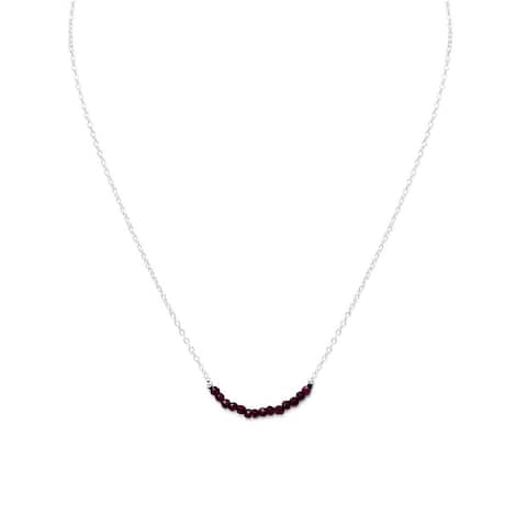 Sterling Silver Faceted Garnet Beads January Birthstone Necklace