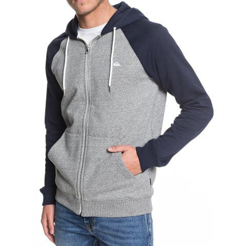 Quiksilver Mens Sweayer Blue Gray Size Small S Raglan Zip Up Hooded