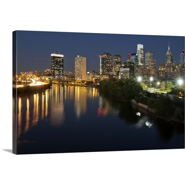 """""""Buildings at the waterfront at night, River Delaware, Philadelphia, Pennsylvania"""" Canvas Wall Art"""