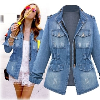 Link to Denim Military Style Jacket With Flattering Waist-Cinch Similar Items in Jackets