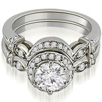 0.77 cttw. 14K White Gold Antique Round Cut Diamond Engagement Set