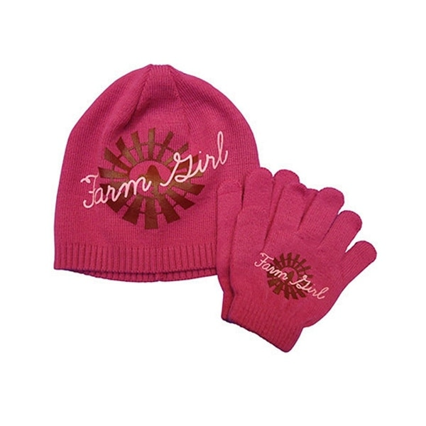 Farm Girl Western Hat Girls Windmill Gloves 3 Pc Pink - S/M