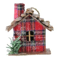 "4.25"" Red Plaid Country Cabin Christmas Ornament"