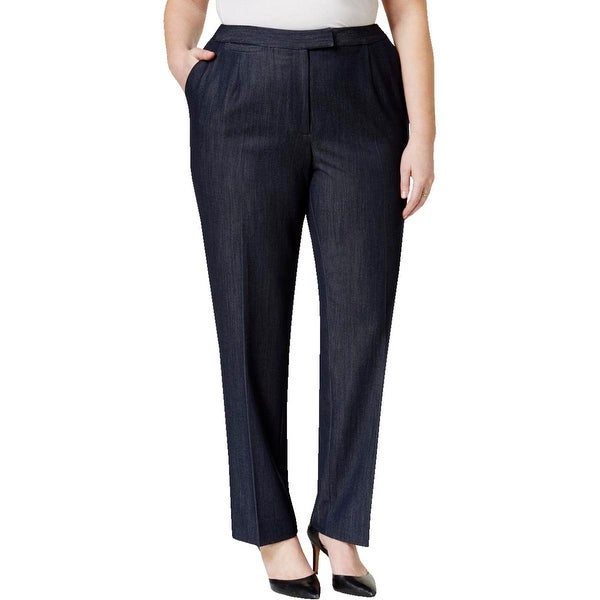 Tahari ASL Womens Plus Straight Leg Pants Heathered Flat Front