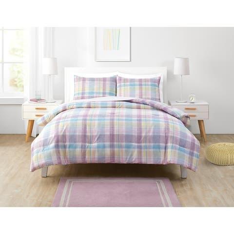 Olivia & Finn Madison Purple Plaid Comforter Set