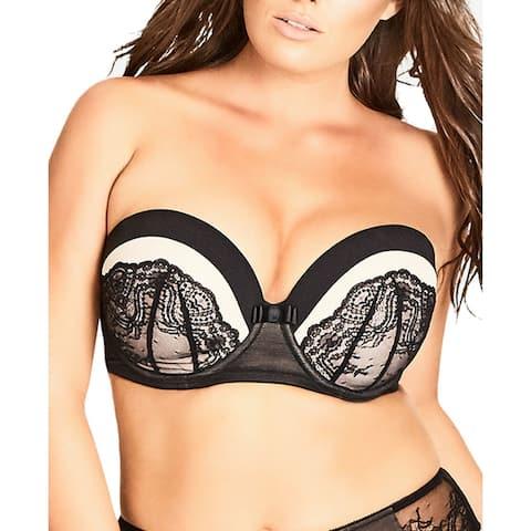 City Chic Womens Eve Push-Up Bra Black Nude Size 42 E Lace Detachable