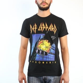 Def Leppard Pyromania It's on Fire Rock Band Men's Black T-shirt