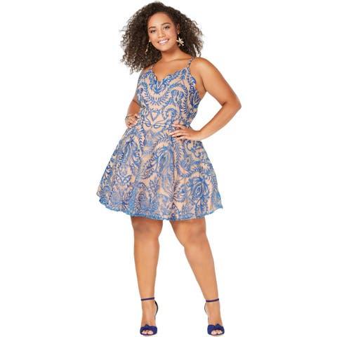 City Studio Womens Plus Party Dress Lace Sleeveless