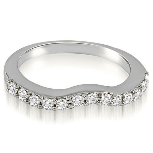 0.21 cttw. 14K White Gold Curved Round Cut Diamond Wedding Band